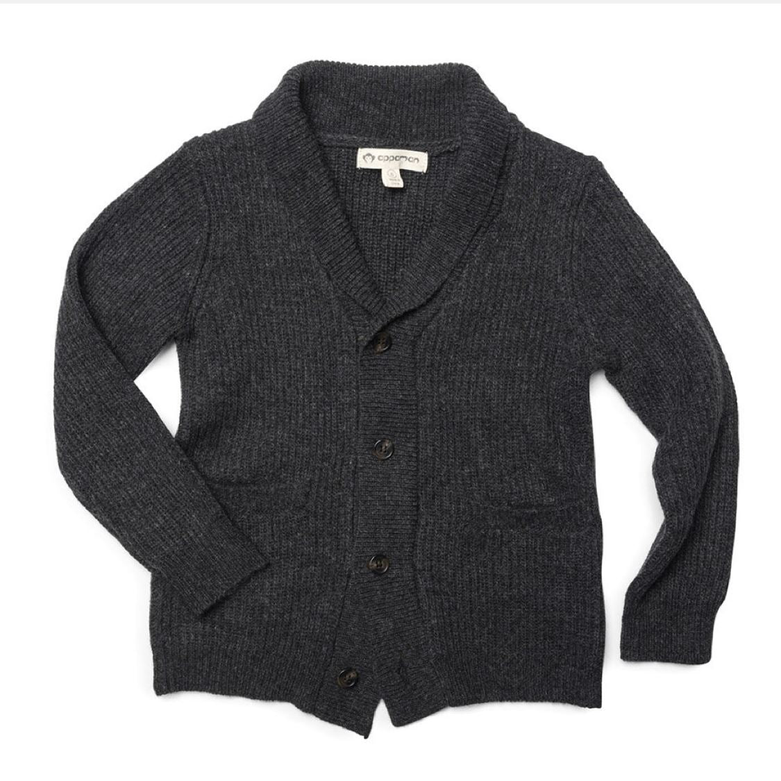 U1SC Appaman Charcoal Heather Shelby Cardigan Sweater Appaman