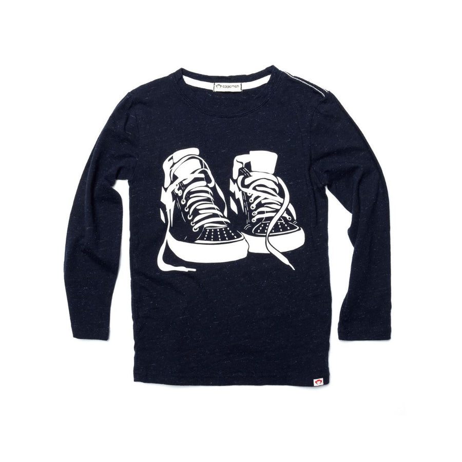 U1T3 - Appaman - Boy's Sneaker Game Long Sleeve Tee - Deep Space Long Sleeve Shirts Appaman 12-18 Months