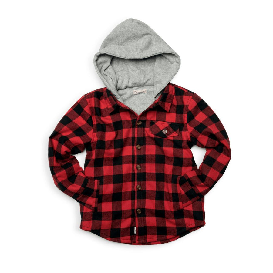 U9GHS - Appaman - Boy's Glen Hooded Shirt- Red & Black Check Long Sleeve Shirts Appaman 2 Years