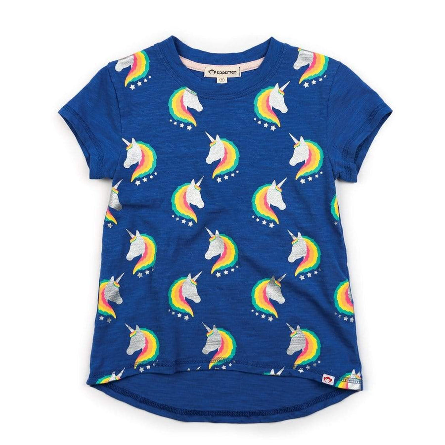 V1CT2-1147 Appaman Magical Unicorn Circle Tee - Periwinkle Short Sleeve Shirts Appaman