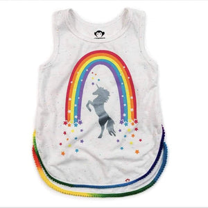 V1MGT-SDE Appaman - Stardust Prism Specked White Morgan Unicorn Tank Tank Top Appaman