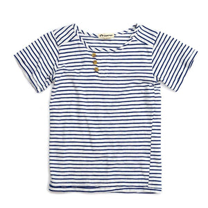 V1MON-1160 Appaman Montauk Henley Tee - Moonlight Blue Stripe Short Sleeve Shirts Appaman