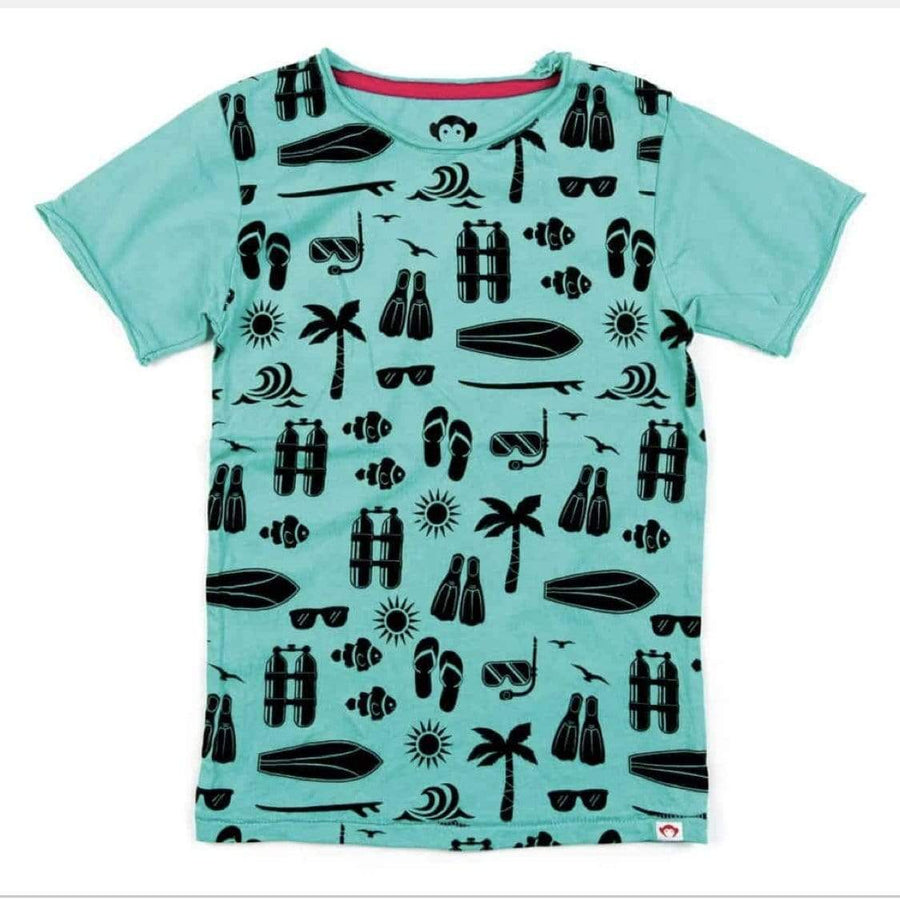 V1T2-TQS Appaman - Turquoise Sea Excursion Graphic Tee Short Sleeve Shirts Appaman