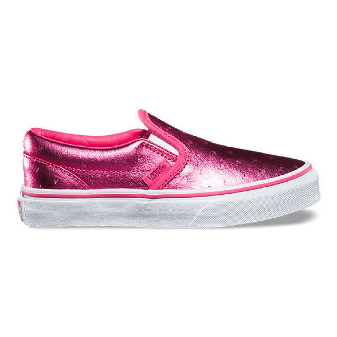 Vans - Classic Slip On Running Shoe - Metallic Hearts (Sizes Toddler 6, 7 & Youth 3) footwear Vans