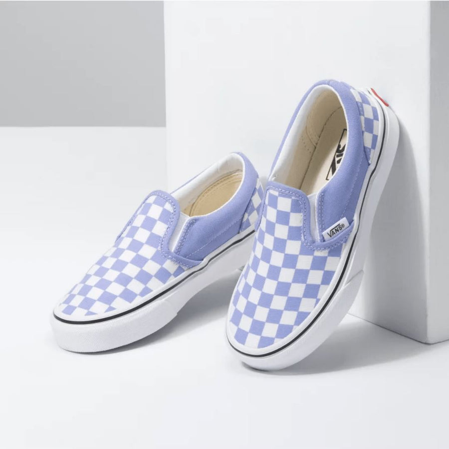 VANS - Classic Slip On Running Shoe - Pale Iris & True White Checkerboard (Kids 10.5 - Youth 5) footwear Vans Kids 10.5