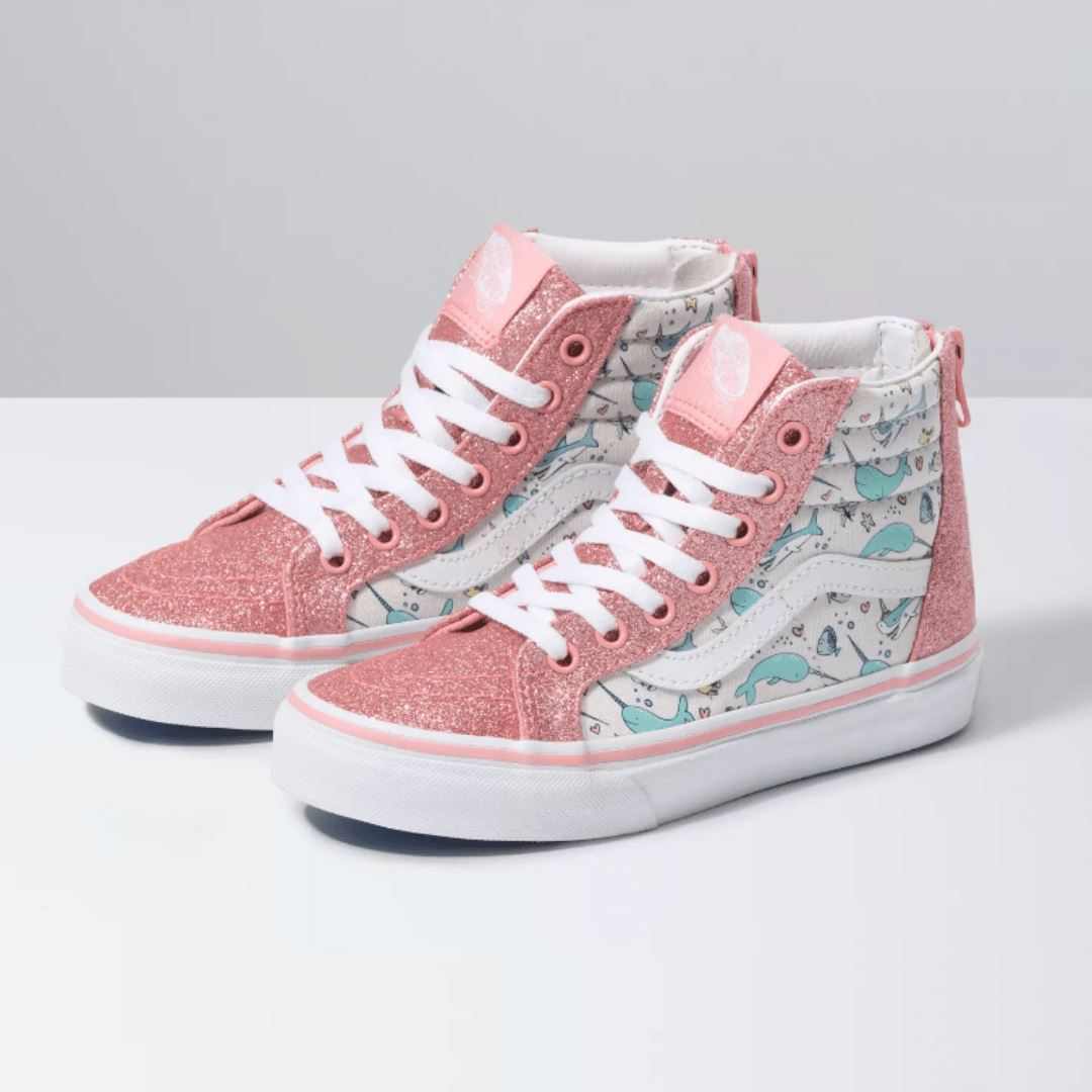 VANS - SK8-Hi Zip - Shark Party - Pink Icing/True White (Kids 10.5 - Youth 5) footwear Vans Kids 10.5
