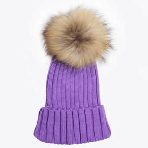 Violet Pom Pom Hat (Baby - Kids) Winter Hat Tiny Trendsetter 0-3 Years
