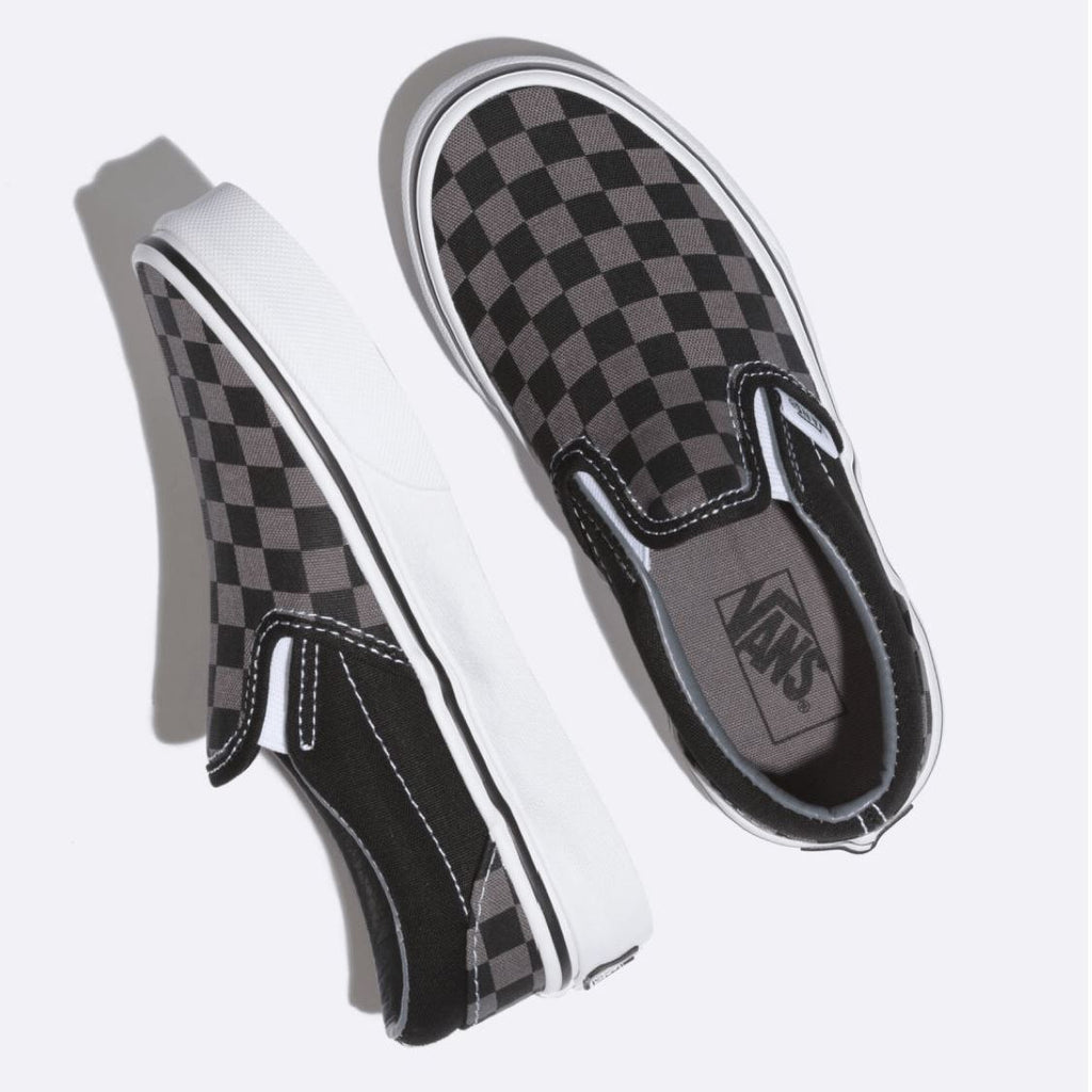 VN000ZBUEO0 VANS - Classic Slip On Running Shoe - Black Pewter Checkerboard (Sizes Kids 10.5- Youth 4) footwear Vans