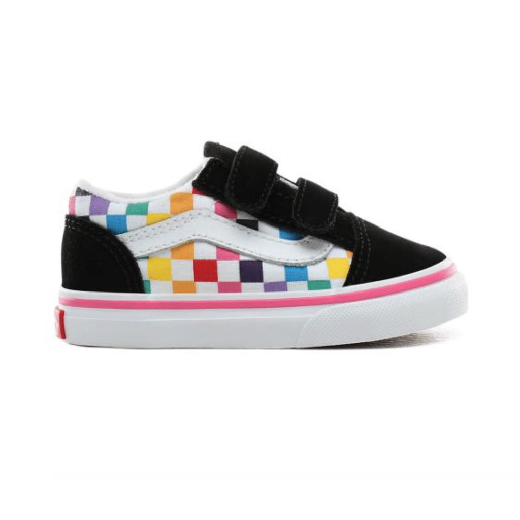 VN0A38JNU09 Vans - RAINBOW CHECKERBOARD OLD SKOOL V SHOES (Toddler 3 - Toddler 10) footwear Vans
