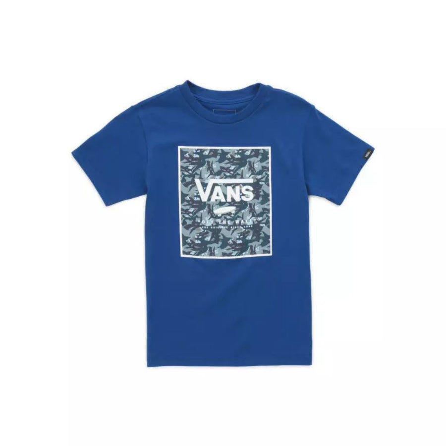 VN0A3HWJYMU - VANS Boys Box Print T-Shirt - Sodalite Blue Shark Short Sleeve Shirts Vans
