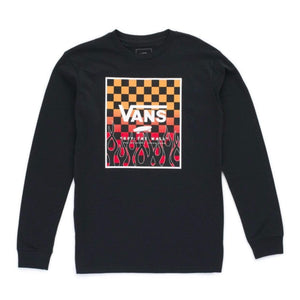 VN0A3IIKZQG - VANS Boys Print Box Long Sleeve T-Shirt - Black/Flame Check Gradient Long Sleeve Shirts Vans