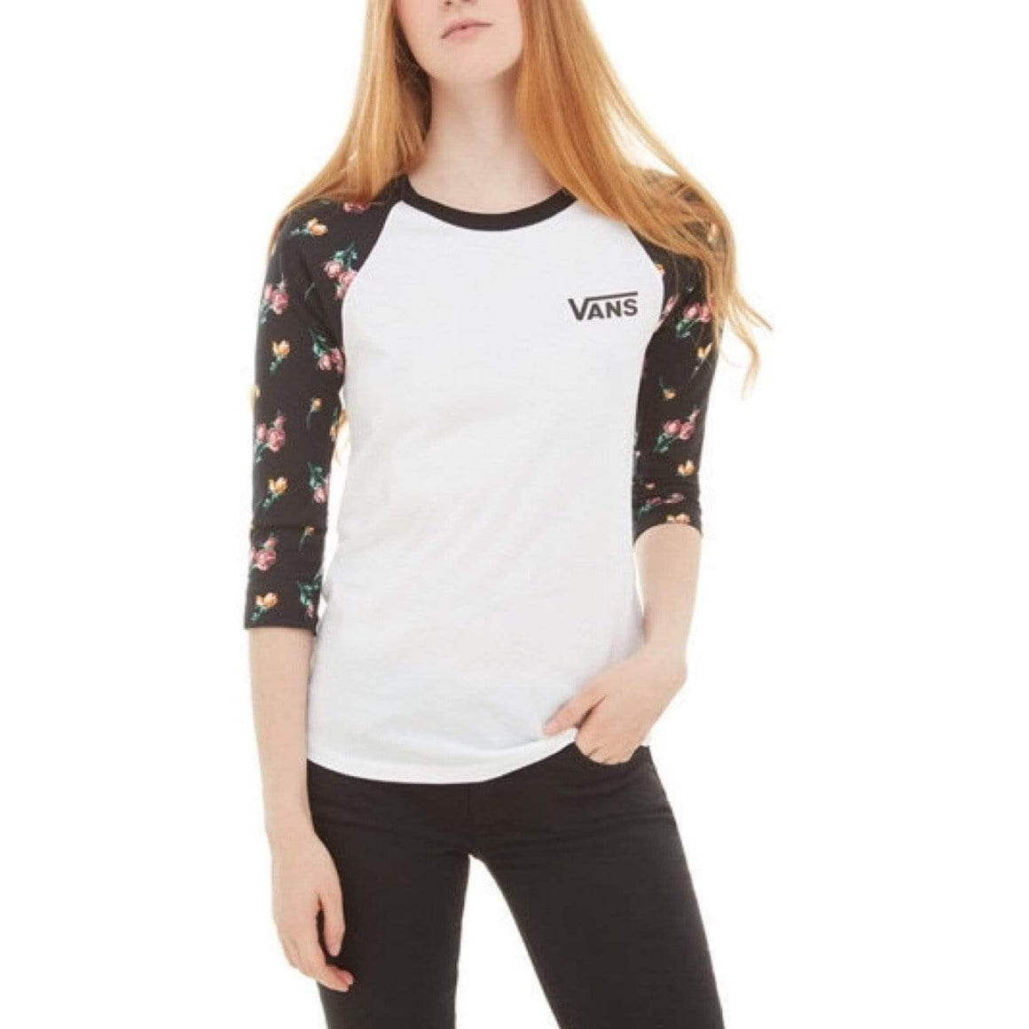 VN0A3UMEUVL - Vans - Women's Satin Floral Raglan T-Shirt Long Sleeve Shirts Vans Women's XS