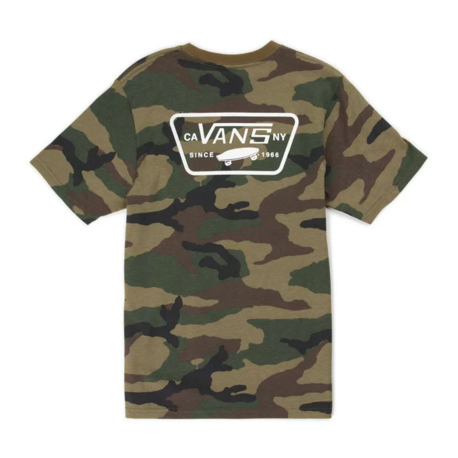 VN0A49TSC9H - VANS Boys Full Patch Back T-Shirt - Camo Short Sleeve Shirts Vans