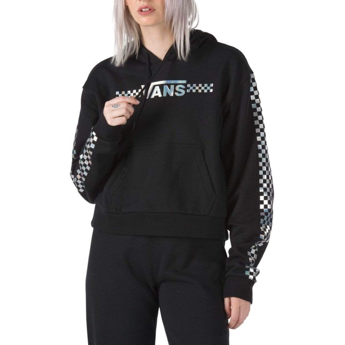 VN0A4DUKBLK - VANS Junior Girls Shine It Iridescent Crop Hoodie - Black Sweatshirt Vans