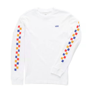 VN0A4MNYWHT - VANS Boys Check Long Sleeve Tee - White Long Sleeve Shirts Vans