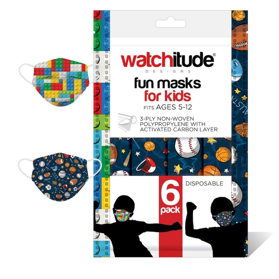 Watchitude Kids Fun Masks (6-PACK) - Build Up & Sports Designs Face Masks Watchitude