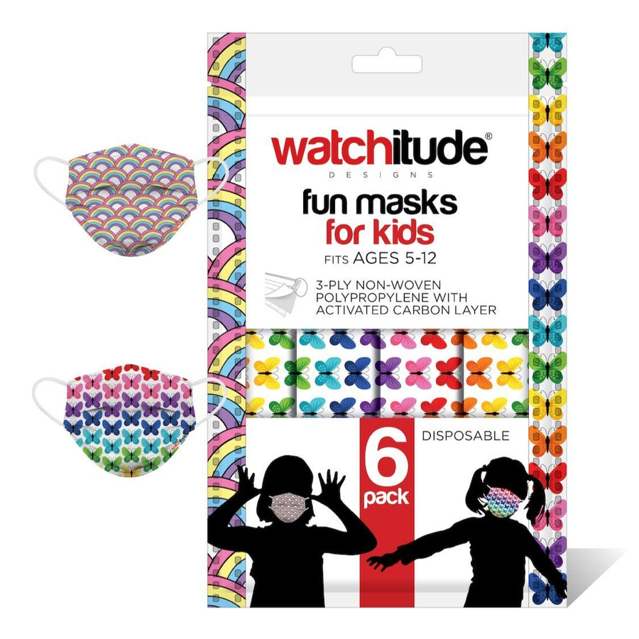Watchitude Kids Fun Masks (6-PACK) - Rainbow Playground & Butterfly Designs Face Masks Watchitude