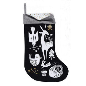 Wee Gallery - Winter Animals White on Black Stocking Stocking Wee Gallery