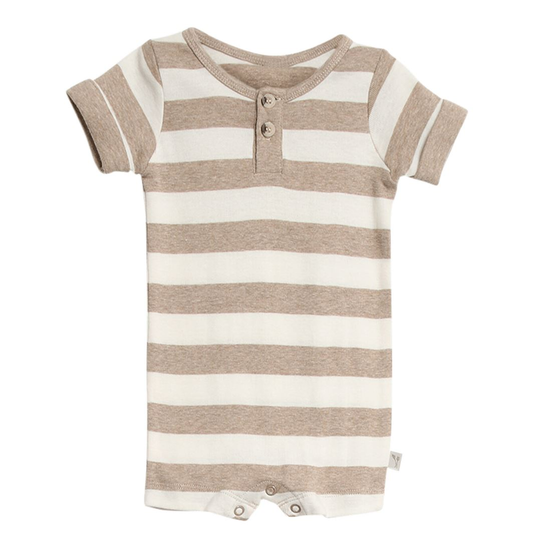Wheat Kids - Baby Short Sleeve Jumpsuit - Melange Sand Romper Wheat Kids 3 Months Melange Sand