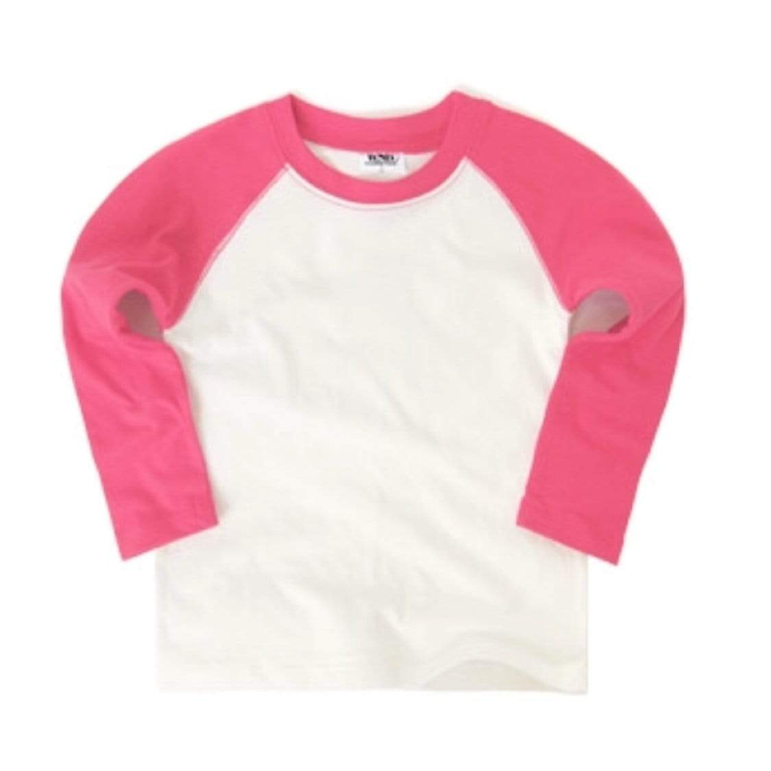 White Sketch Book - Cherry Pink Long Sleeve Raglan Shirt Long Sleeve Shirts White Sketch Book