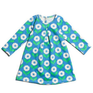 Winter Water Factory - Organic Cotton Blue and Green Daisies Aspen Dress Dress Winter Water Factory