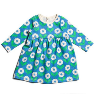 Winter Water Factory- Organic Cotton Blue and Green Daisies Geneva Dress Dress Winter Water Factory
