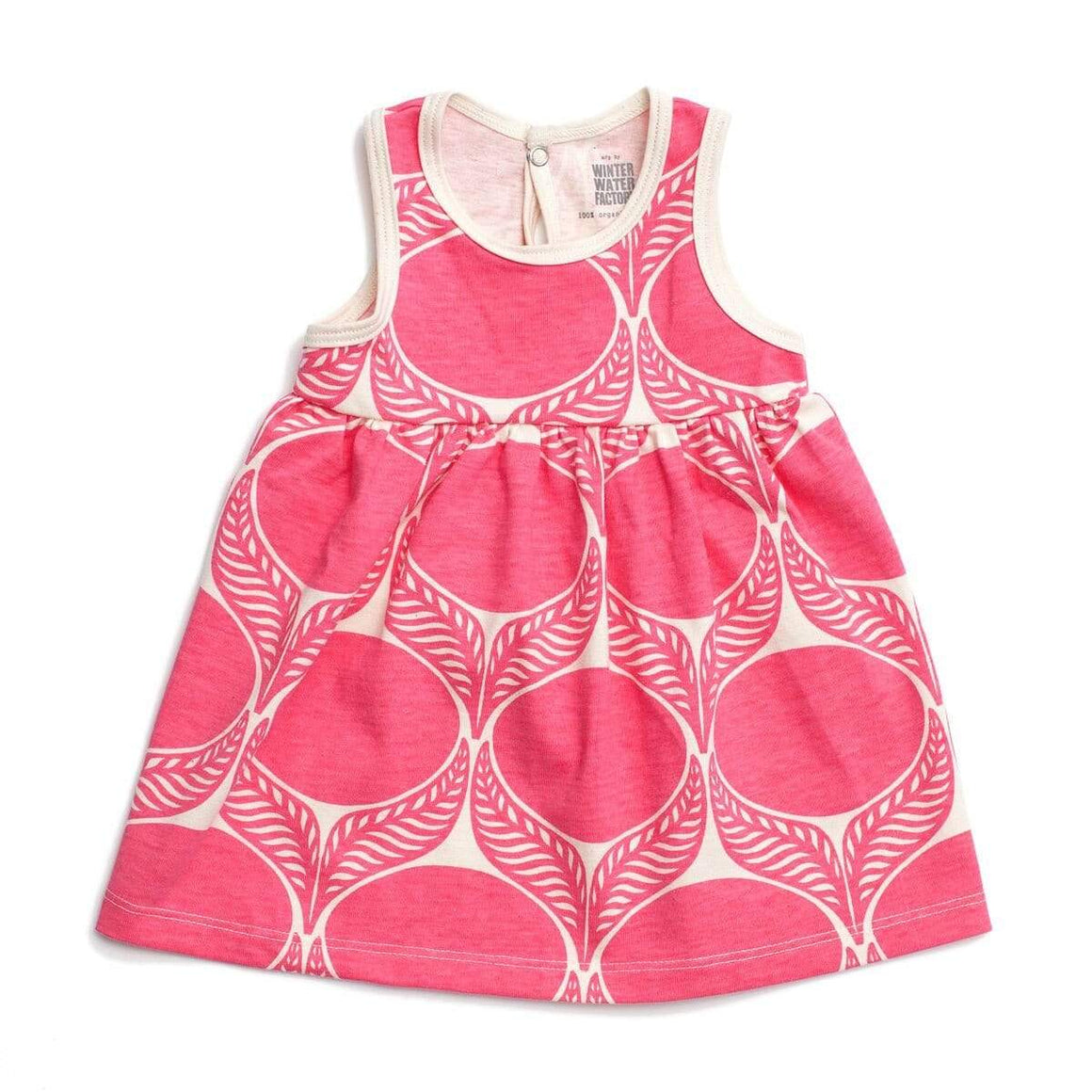 Winter Water Factory- Organic Cotton June Leaf Pink Oslo Dress (3 Months) Dress Winter Water Factory