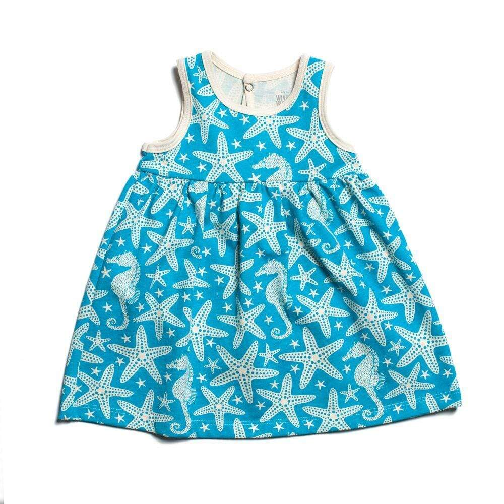 Winter Water Factory- Organic Cotton Starfish Turquoise Oslo Dress (3Months) Dress Winter Water Factory
