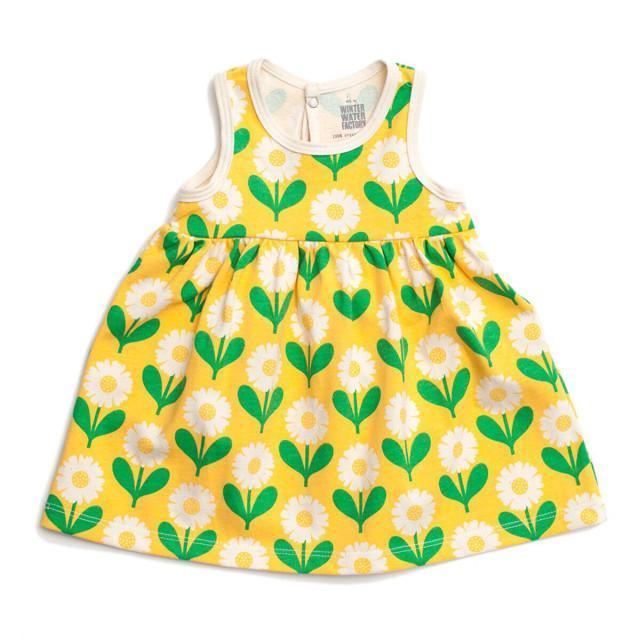 Winter Water Factory- Organic Cotton Yellow and Green Daisies Oslo Dress (3Months) Dress Winter Water Factory