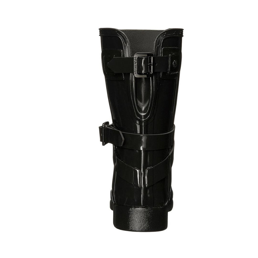 Women's Refined Back Hunter Black Gloss Adjustable Short W/ Ankle Strap Boots Rain Boots Hunter