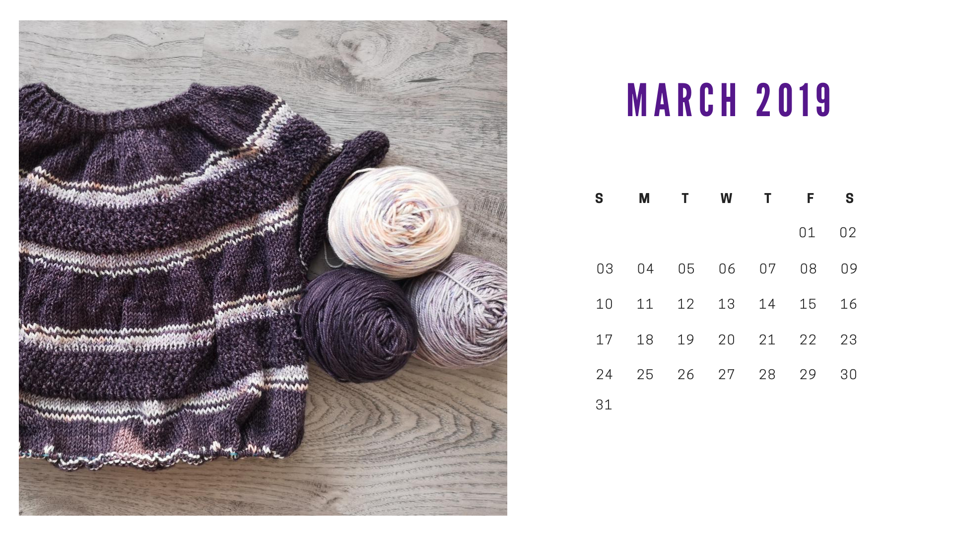 March Free downloadable calendar
