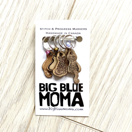 Big Blue Moma Stitch Markers - CATS - Set of Five - Red Sock Blue Sock Yarn Co