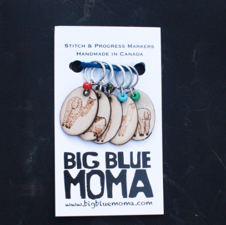 Big Blue Moma Stitch Markers - Llamas - Set of Five - Red Sock Blue Sock Yarn Co