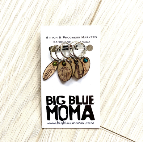 Big Blue Moma Stitch Markers - Succulents - Set of Five