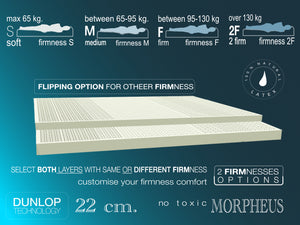 Natural latex mattress MORPHEUS -  2 layers from 100% Natural Solid Latex customisable firmnesses H-22 cm