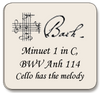 Bach Minuet 1 in C, BWV Anh 114,  For violin and cello (cello has melody)