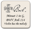 Bach Minuet 1 in G, BWV Anh 114,  For violin and cello (violin has melody)