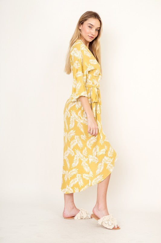 Yellow Palm Belted Midi Wrap Dress