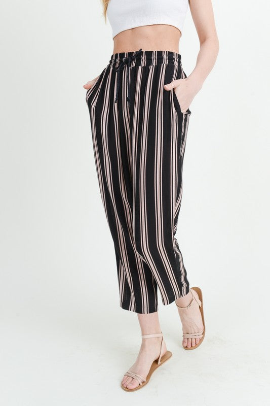 Lucy Stripes Jogger Pants with Drawstring Waist and Pockets