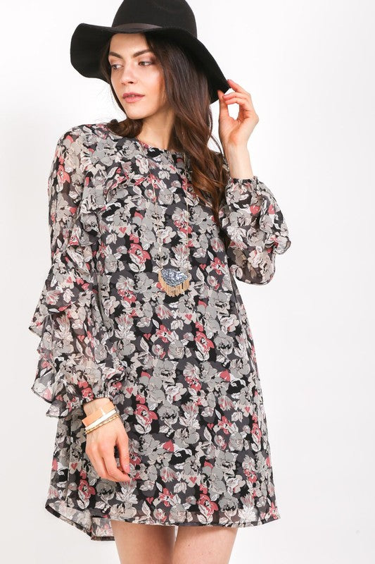 Pink Liberty Coming Up Rosy Floral Tunic Swing Dress