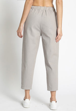 Side Stripe Crop Pants with Drawstring Waist