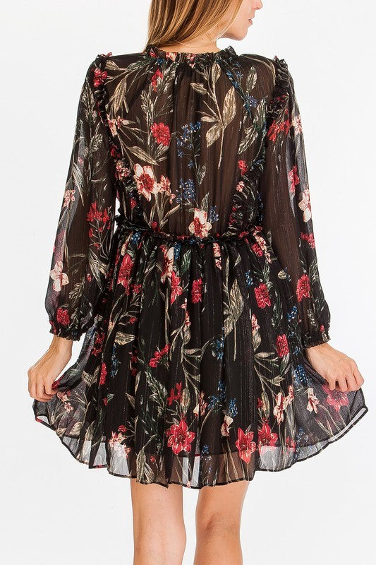 Pink Liberty Black Floral Chiffon Babydoll Dress