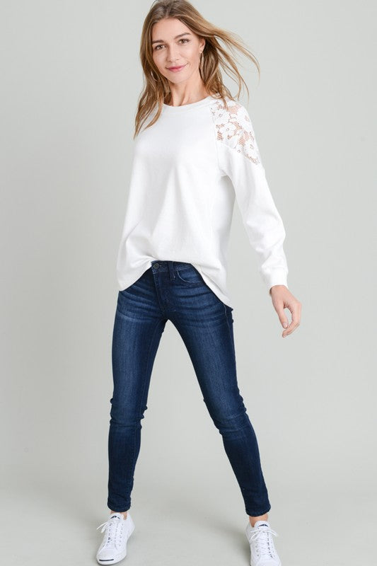 Pink Liberty French Terry Long Sleeve Lace Shoulder Top Winter White