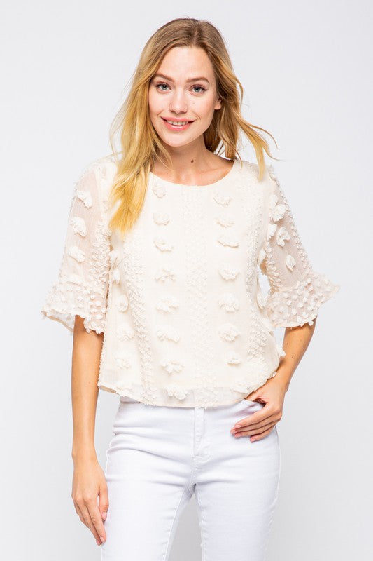 Pink Liberty Blooming Floral Embellished Blouse Cream