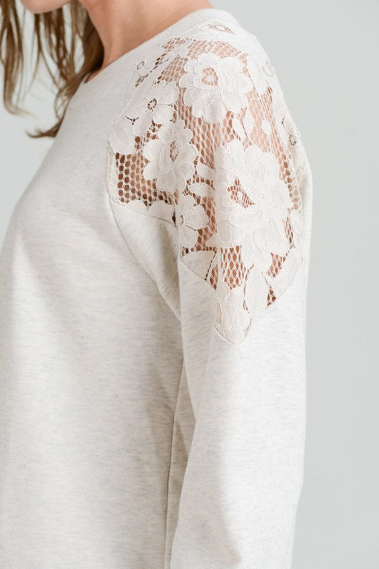 Pink Liberty French Terry Long Sleeve Lace Shoulder Top Heather Grey