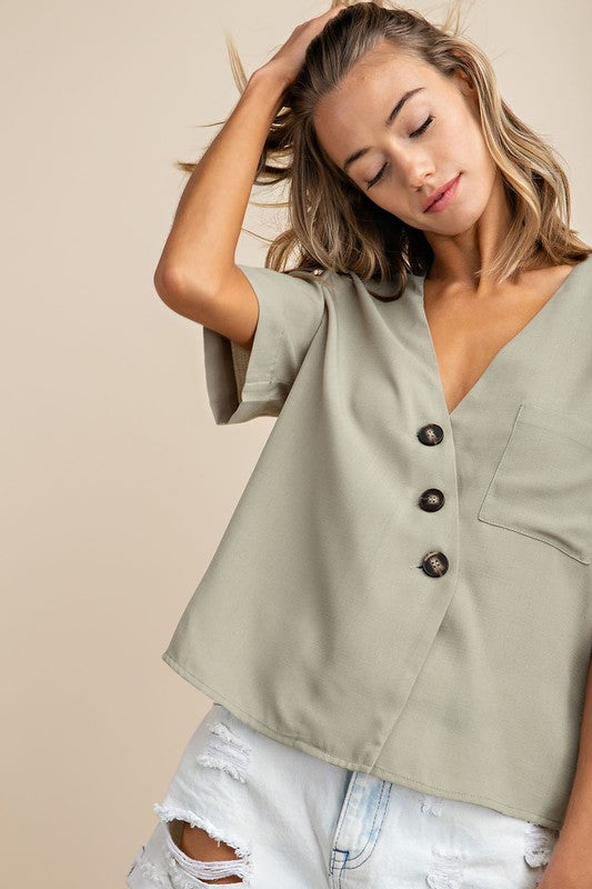Sage Button Down Front Pocket Woven Shirt