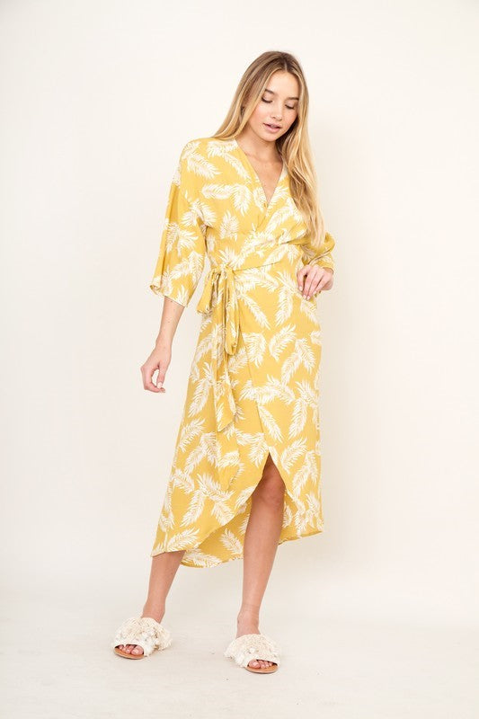 Pink Liberty Yellow Palm Belted Wrap Dress