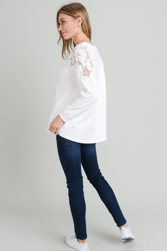 French Terry Long Sleeve Lace Shoulder Top
