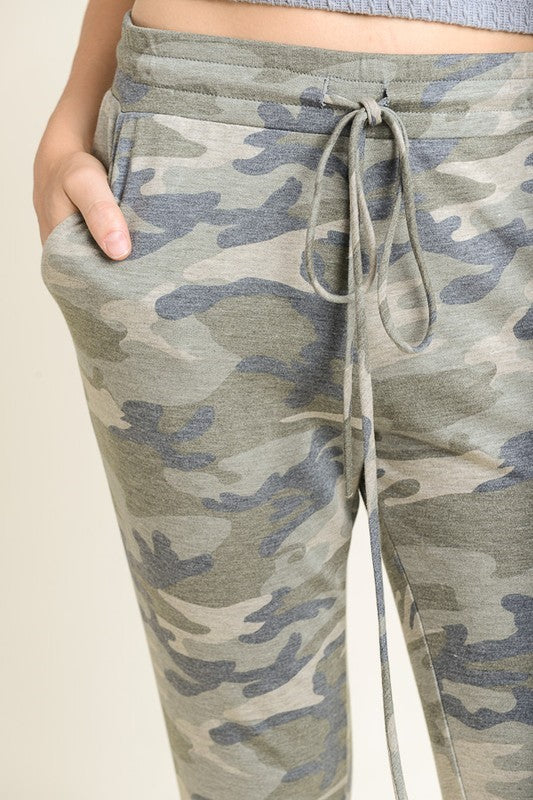 Pink Liberty Camo Jogger Pants with Drawstring Waist