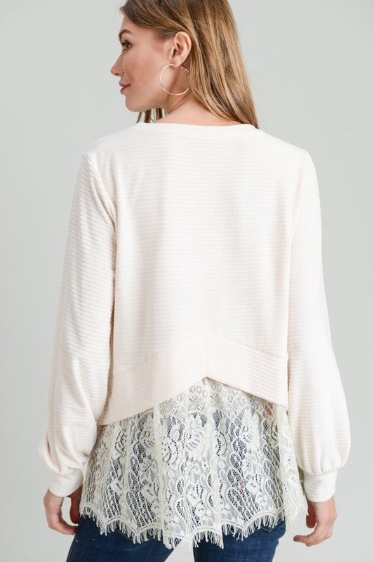 Winter Wonderland Lace Back Detail Velvet Top